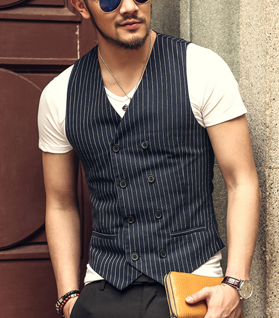 Men's Slim Vest Suit Double Breasted Sleeveless Jacket Waistcoat Men Suit Vest Men's brand Jacket British spring Suit Vest
