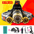 10000Lm Jeebel Camp 3xT6 LED Headlight Headlamp Head Lamp Light Torch +2 x 18650 Rechargeable battery for fishing lampe frontale