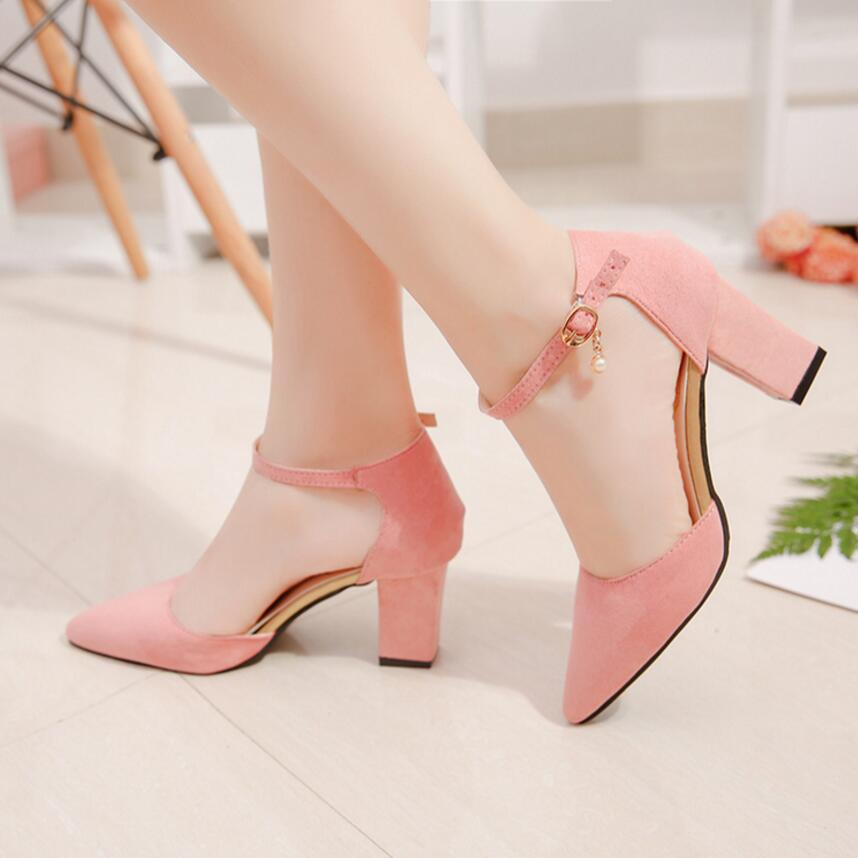 2018Spring And Summer New Style Button Pink High Heel Lady Shoe Fashionable Shallow Female Sandals.