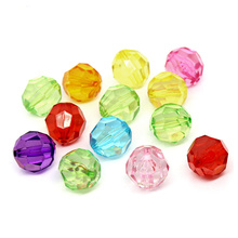 50Pcs Mixed Colors Acrylic Round Faceted Perles Perlas Spacer Beads 20mm(6/8) DIY Jewelry Findings