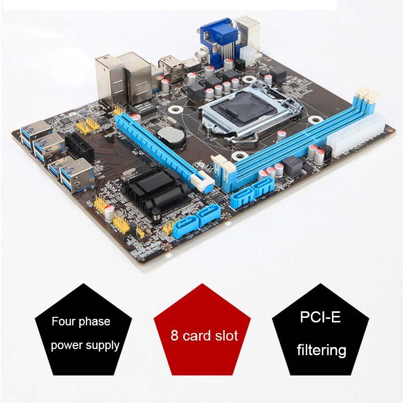 New B85 BTC+ETH Mining Bitcoin 8 PCI-E USB3.0 directly Slots Mainboard for Intel QJY99 btc 6411