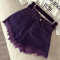 2016 Apparel Vintage ripped casual denim shorts Women pocket fringe jeans shorts femme Summer girl high waist hot shorts AW478