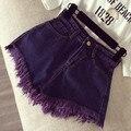 2016 Vestuário rasgado shorts jeans casuais Mulheres Do Vintage bolso franja shorts jeans femme menina do Verão de cintura alta hot shorts AW478