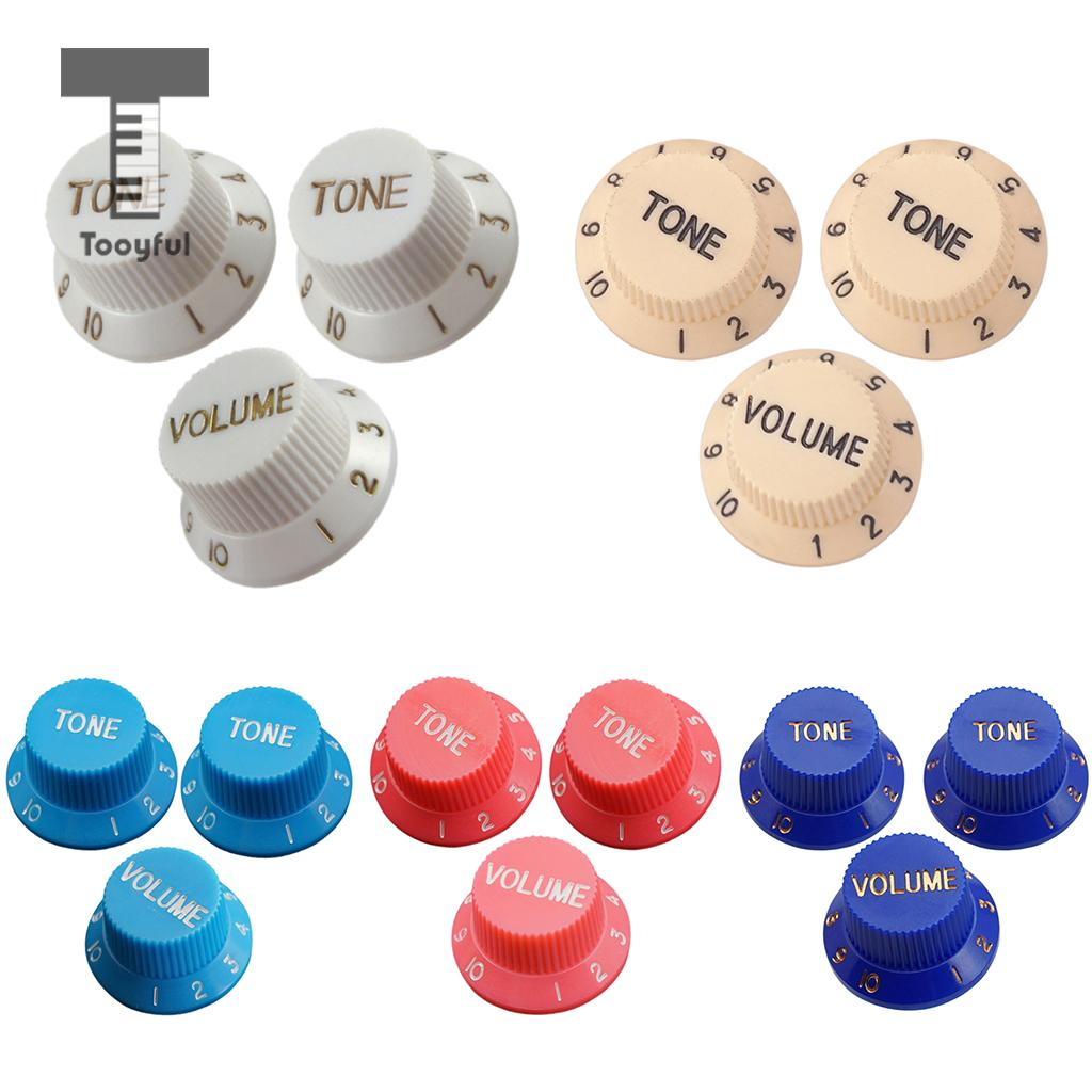 Tooyful 3 Pcs Guitar Speed Control Knobs 1 Volume 2 Tone For Stratocaster Strat ST SQ Electric Guitar Parts Accessory