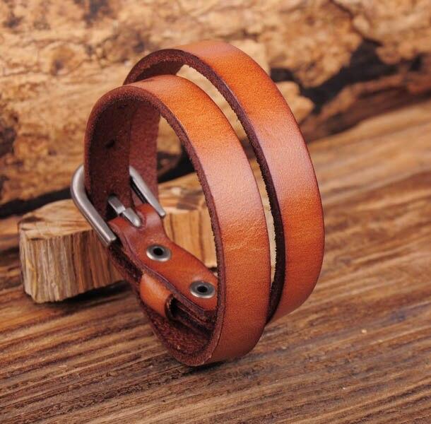 G557 коричневый Байкерский рок классический двойной браслет из воловьей кожи с пряжкой