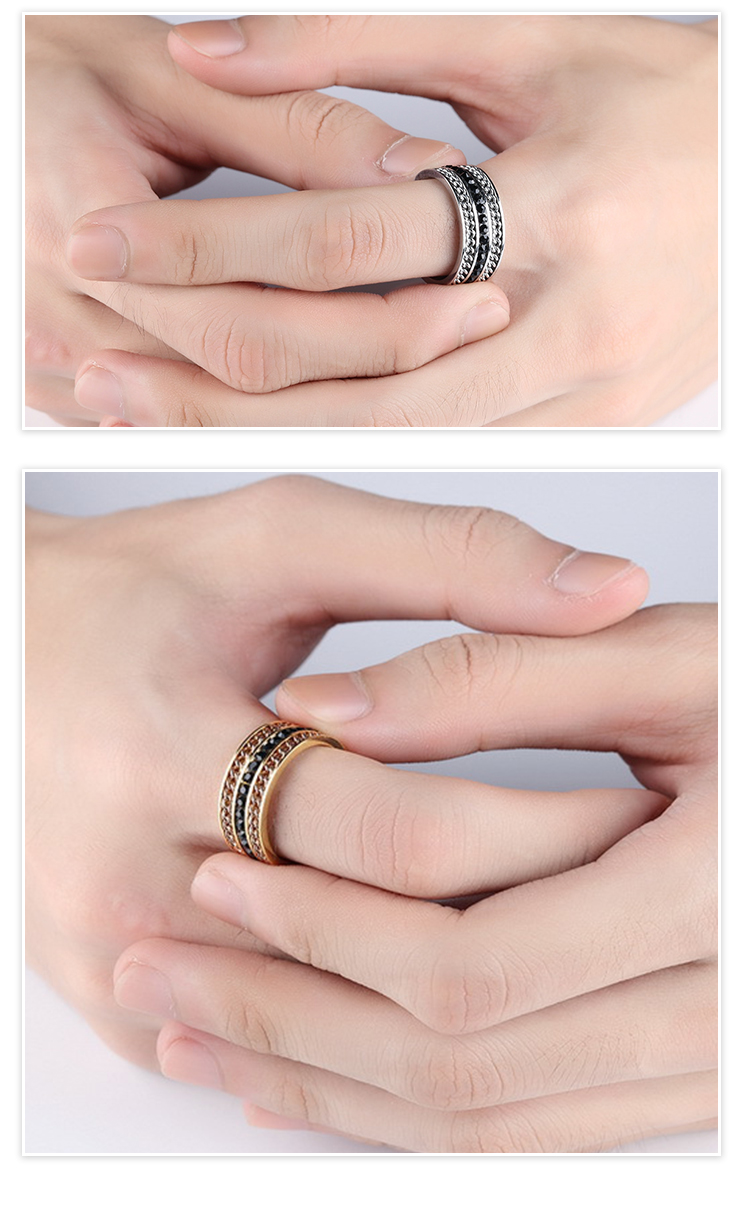 V COOL Annversary Rings Female Jewelry Motorcycle Stone Chain Ring ...