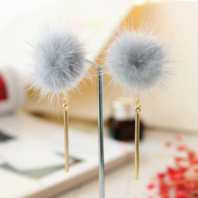 The new 2018 earrings fashion accessories New winter Contracted minks hair bulb stud