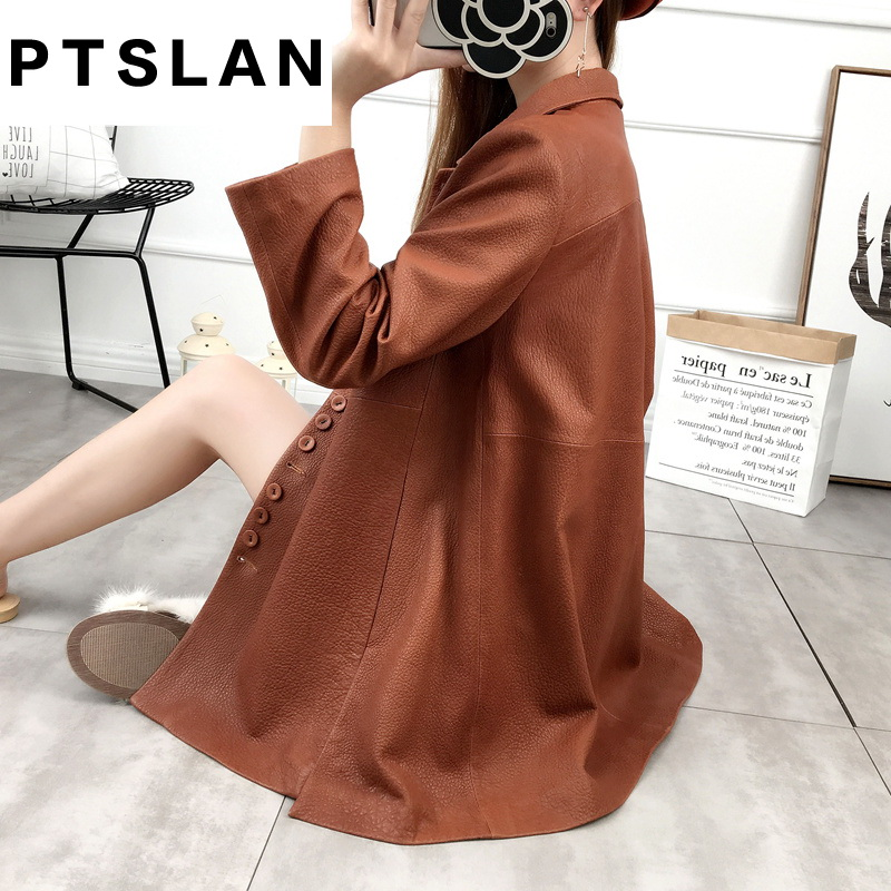 Ptslan 2017 font b Women s b font Genuine Lambskin Leather Long Coats Long Sleeve font