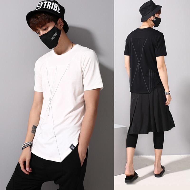 Hip Hop T-shirt Hommes Étendus T-Shirt Streetwear Hommes Noir Blanc T Merdes Butin Vêtements Camisetas Blanc Noir Contraste Stiching