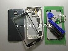 Original Middle Frame Bezel+Front Glass Lens Housing Cover Case Chassis Full For Samsung S5 SV i9600 G900+LOGO+Tool +Stickers