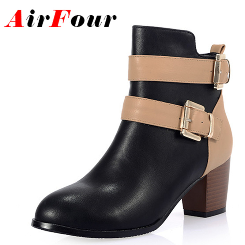 ФОТО Airfour Women Boots New Season Winter Warm Ankle Women Boots Round Toe Fur Inside 2 Colors Black and Brown Cute Boot Size 34-40