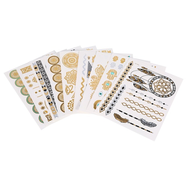 9Pcs Sheets Tattoo Stickers Temporary Tattoo Disposable Metallic Golden Silver Black Flash Tattoo Accessories Tattoo Stickers