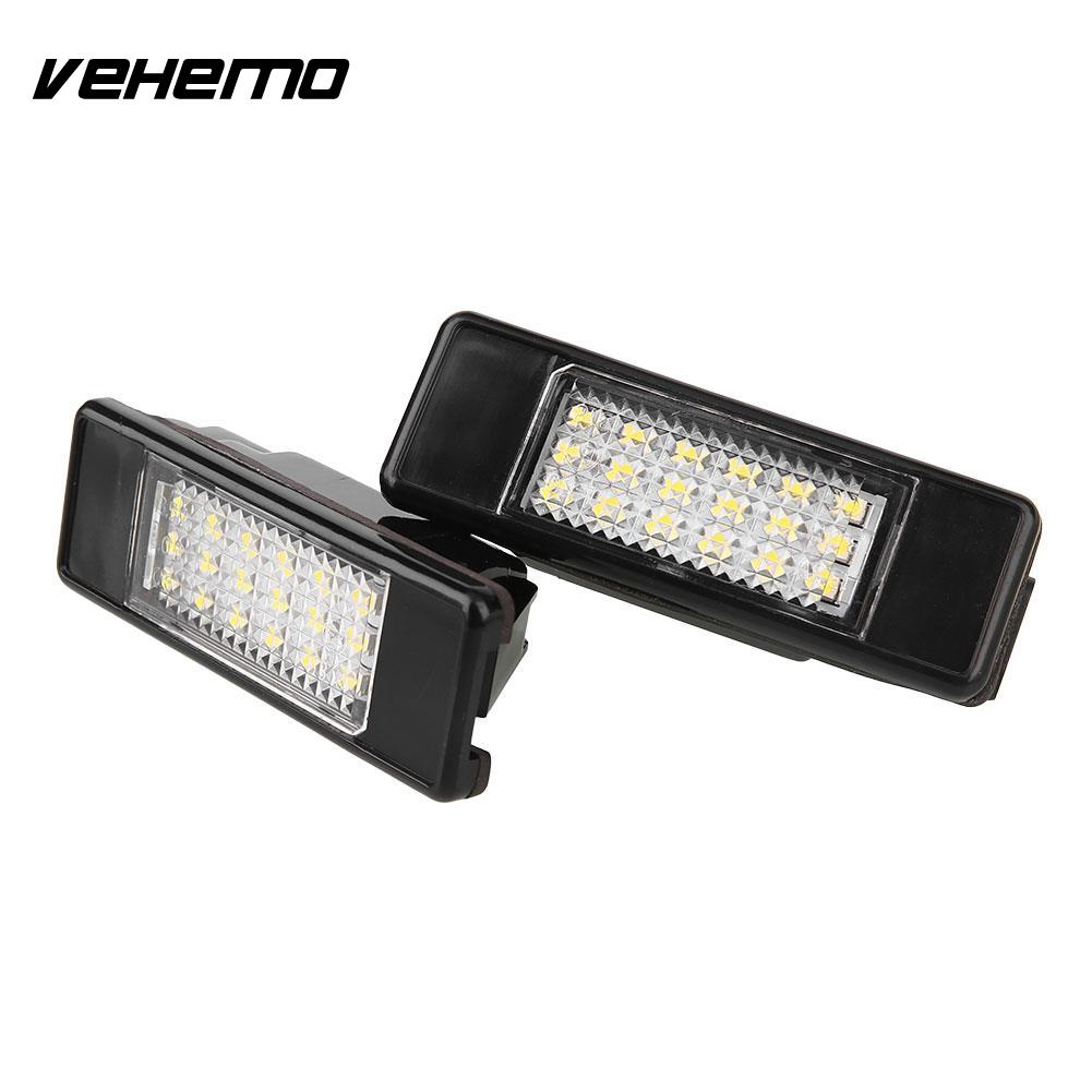 Vehemo 2Pcs 12V Car 18 LED Number License Plate Light Lamp For Peugeot 106 1007 207 407 vehemo 2pcs 12v white 24 led car number license plate light lamp for ford focus c max mk2