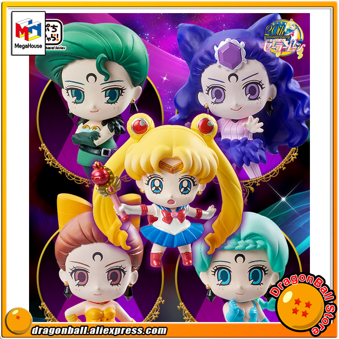 Japanese Anime Pretty Guardian Sailor Moon Original MegaHouse Petit Chara Figurine Action Figure - Ayakashi no Yonshimai Hen japanese anime one piece original megahouse mh variable action heroes complete action figure dracule mihawk