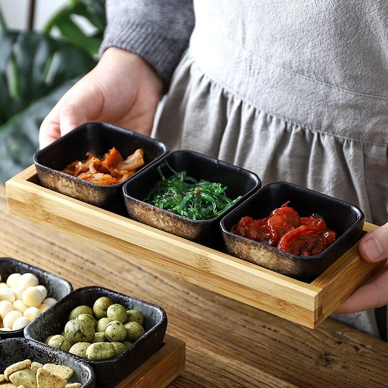 Креативная керамическая сетки Фруктовая тарелка для закуски пластины сервировочное блюдо японская маленькая тарелка с подносом домашних настольных высушенный плодоовощ закуска лоток-1