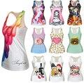 Творческий! Sexy! цифровые Печатные футболки Женщины Топы Лето Рукавов Harajuku Стиль Колье Панк Упругой Жилет