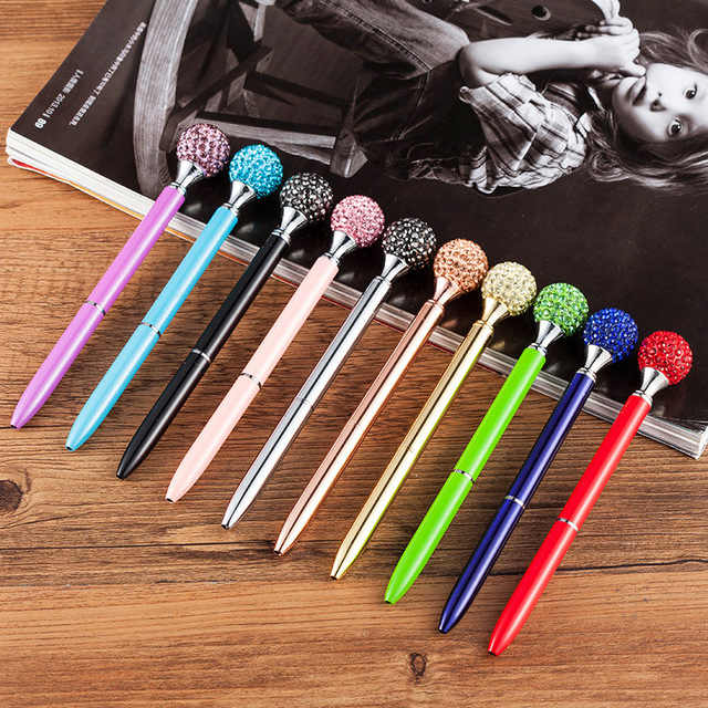 Luxury Metal Color Diamond Ballpoint Pen Creative Stationery Signature Roller Ball Pen For Writing Gift Office School Supplies