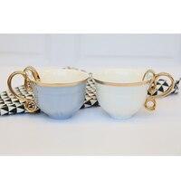 230ML Brief 24k Gold Plated Unique Handle White Blue Ceramic Cappuccino Coffee Milk Mug Office Drinkware