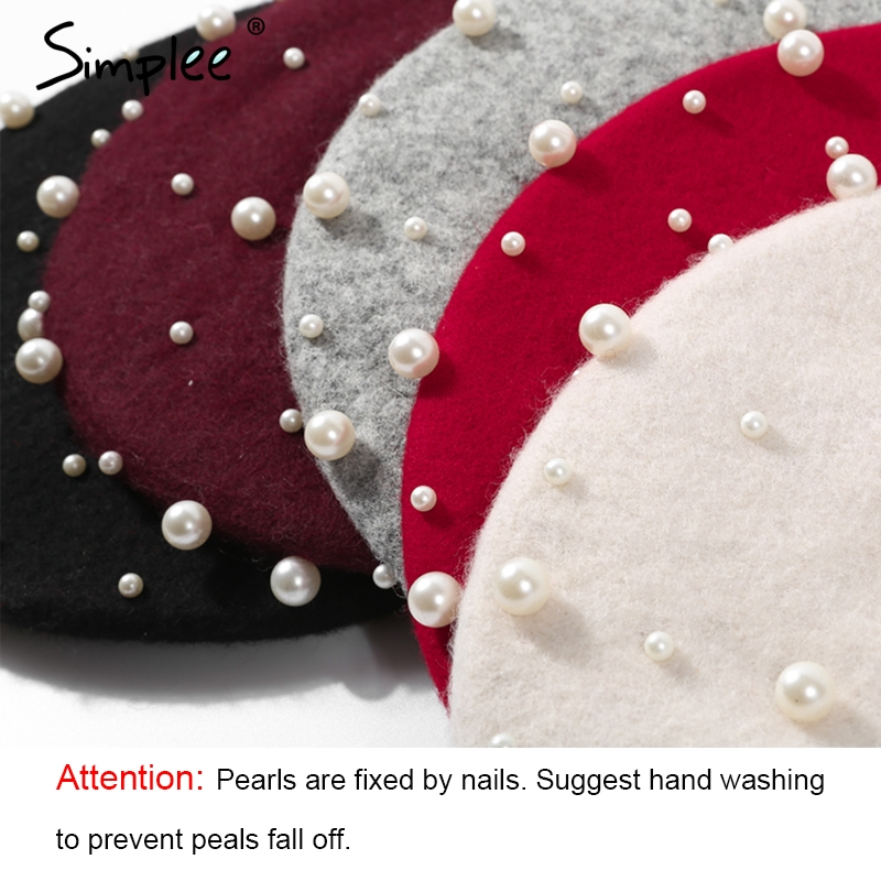 0854693e9a662 Simple Winter elegant wool pearl beret women Solid 2017 autumn flat cap  christmas hat fashion girl streetwear red beret female-in Skullies    Beanies from ...