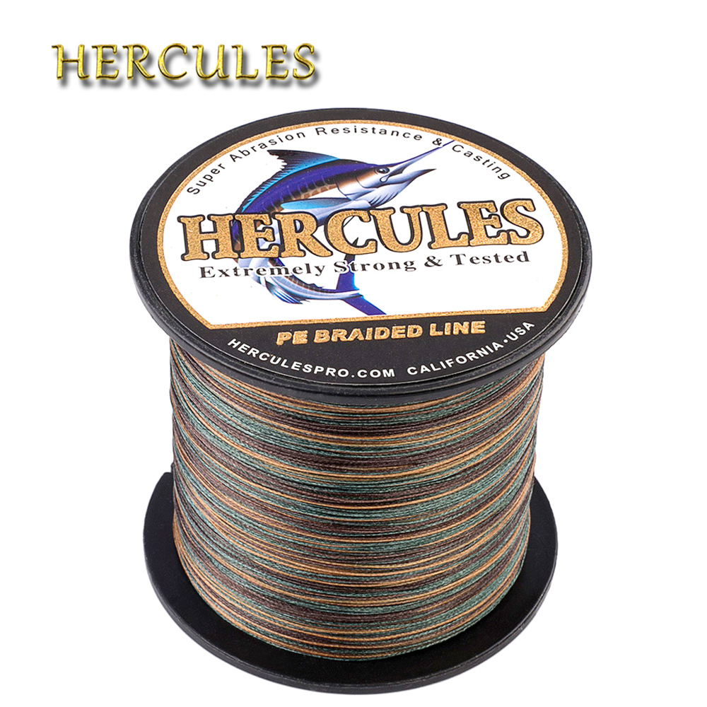 Hercules ปลาคาร์พตกปลา 8 Strands PE สายถัก Braided 100M 300M 500M 1000M 1500M 2000M Pesca น้ำเค็มสาน Camo ตกปลาสายไฟ
