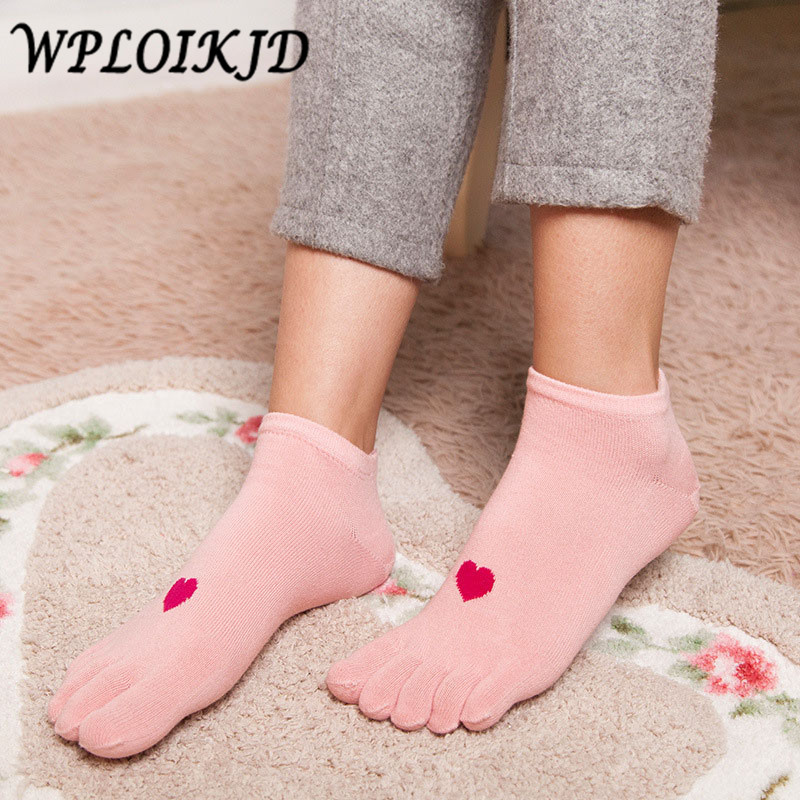 [WPLOIKJD]Japan Meias Cotton 5 ColorFive Fingers Love Pattern Gift   Socks   Women Colorful Shallow Mouth Calcetines Mujer