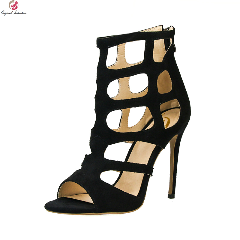 Original Intention New Sexy Women Sandals Stylish Open Toe Thin Heels Nice Black Blue Red Grey Shoes Woman Plus US Size 3-10.5 hot selling sexy sloid thin heels sandals woman new desig lace red white black sandals peep toe elegant for women free sipping
