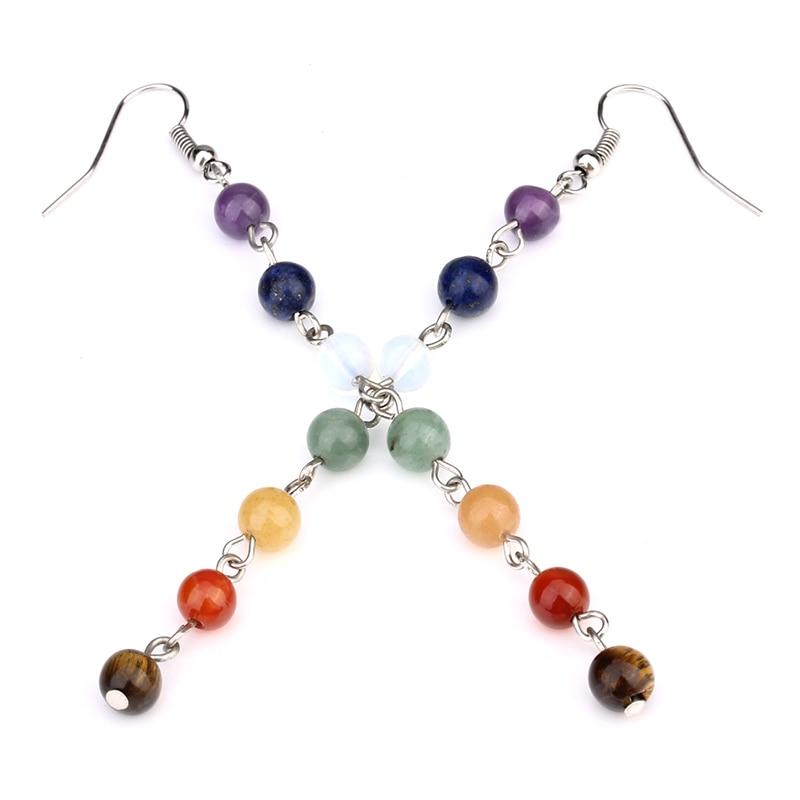 Women's 7 Chakra Beaded Drop Earrings 2