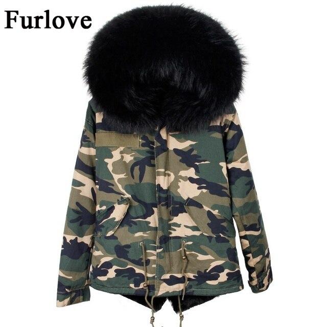 89ff080644fae Womens winter jackets camouflage parkas big size natural raccoon fur collar  hooded parka fur coat detachable