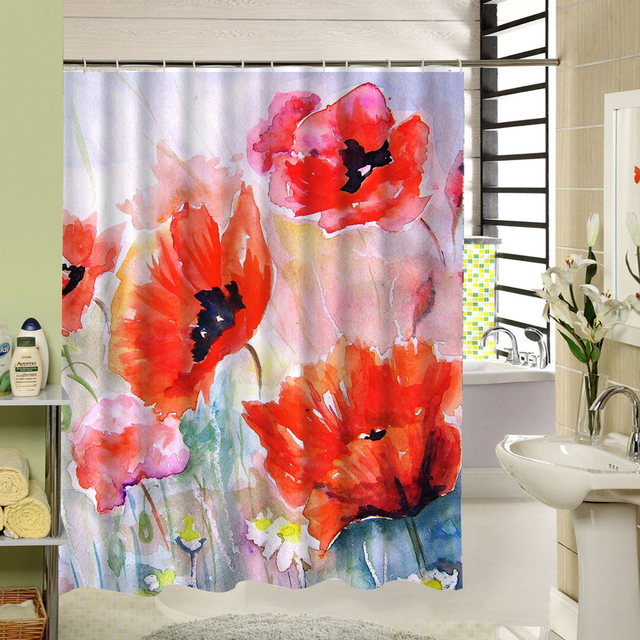 Watercolor Red Floral Shower Curtain Polyester Long Purple Flowers Bathroom Decor Liner Washable Water Resistand
