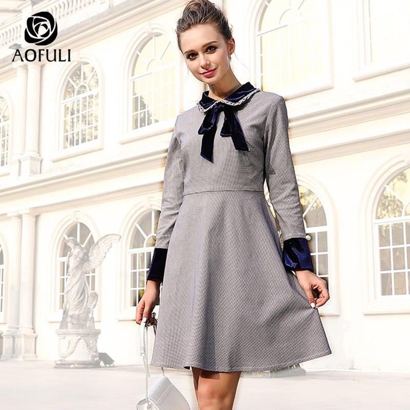 AOFULI L XL 2XL 3XL Women Plaid Print Dress Autumn Winter Long Sleeve Velvet Patchwork Slim