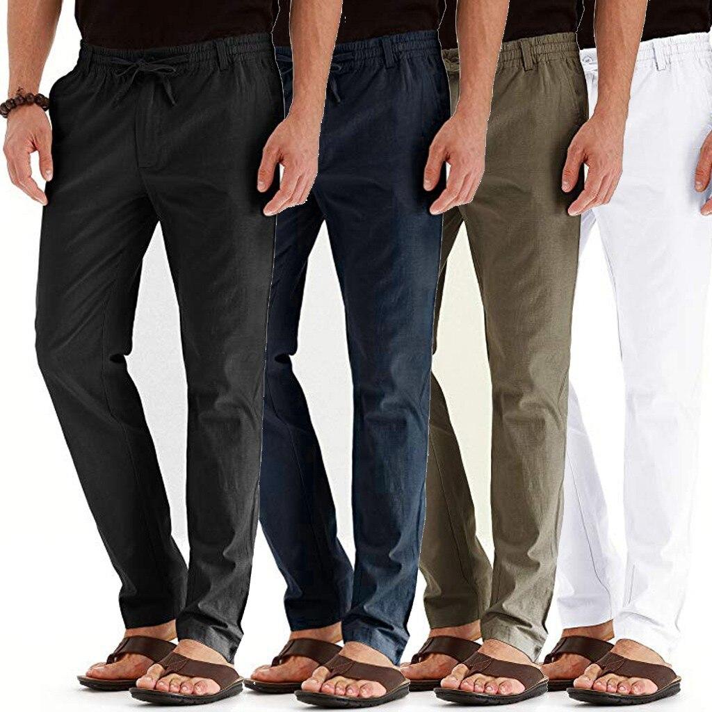 Men Pants Casual Linen Breathable Loose Long Pants Solid Color Elastic Waist Straight Slim Flax Trousers Plus Size M-4XL