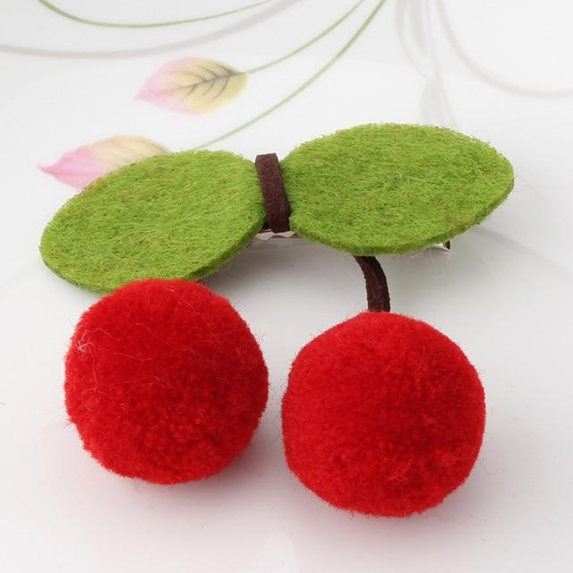 M MISM Sweet Cute Girls Cherry Bow horquillas adornos tocado Tiara Clip de pelo nuevo encanto niños bola hojas Barrette accesorio