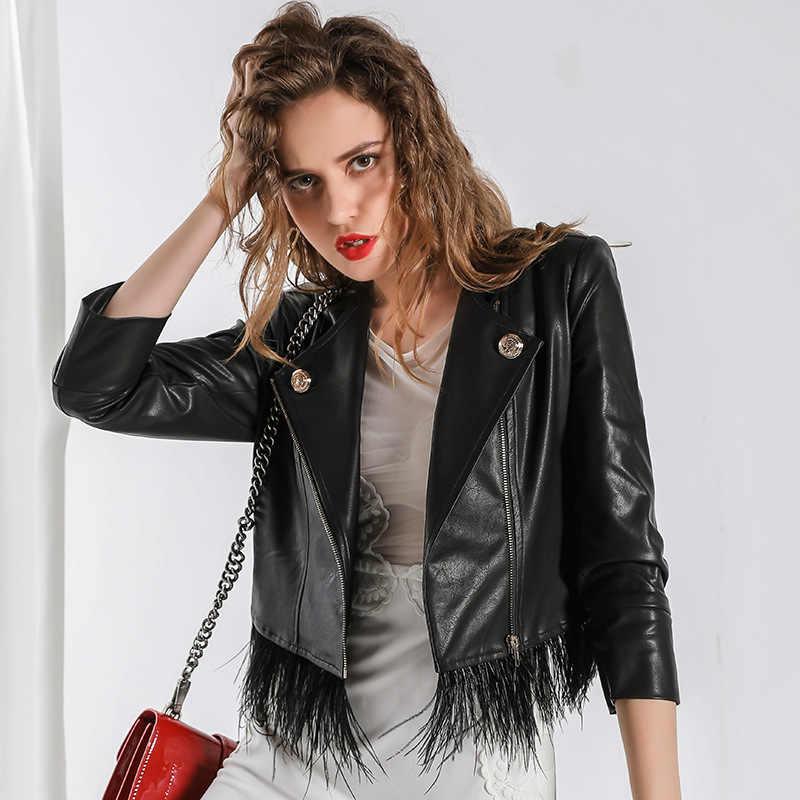 Autumn Winter Coat Women Clothes 2019 PU Leather Jacket Faux Fur Coat Korean Streetwear Women Tops Chaqueta Mujer V-2912 ZT3048