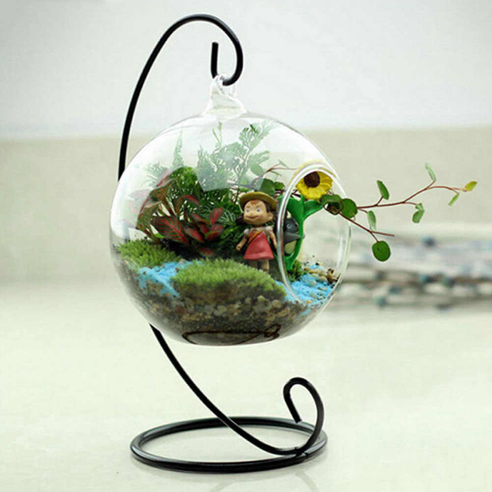 1PC 23CM Metal Stand Air Plant Terrarium Planter Hanging Display Rack For Home Decoration Wholesale Black White
