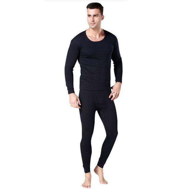 Hombres calientes 2 unids Cotton fijado ropa interior térmica calzoncillos largos Tops Bottoms pijama 3 colores SH1