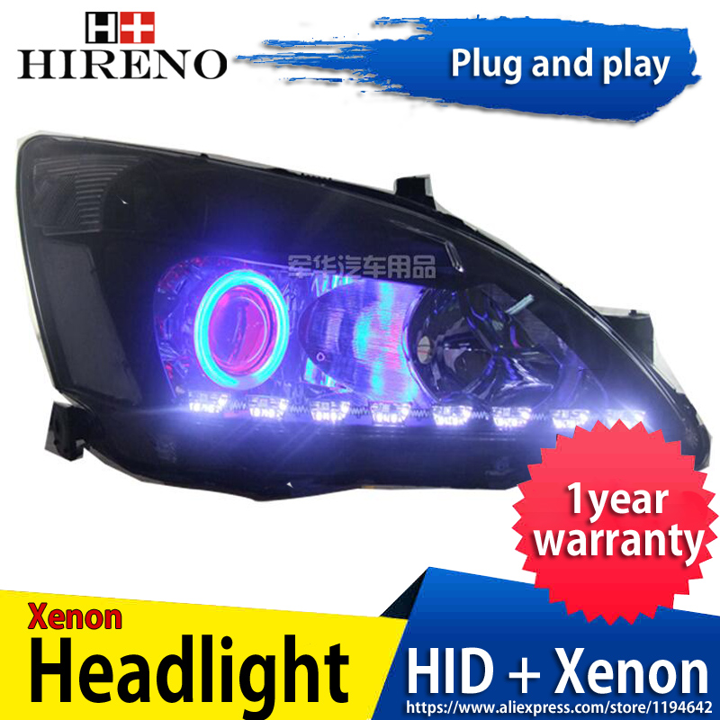 Car custom Modified Xenon Headlamp for Honda Accord 2003-2007 Headlights Assembly Car styling Angel Lens HID 2pcs hireno headlamp for mercedes benz w163 ml320 ml280 ml350 ml430 headlight assembly led drl angel lens double beam hid xenon 2pcs