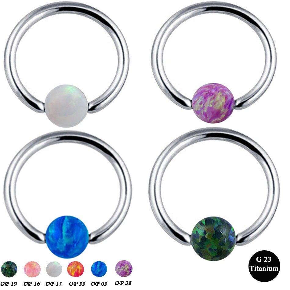 G23 Titanium Opal Stone Captive Bead Ring Piercings Nose Rings Gauges Septum Clickers Nipple Lip Earring Tragus Body Jewelry bead