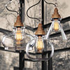 Rustic Wood Grain American Style Crystal Pendant Light Vintage Single Head Glass Bar Counter Lamps