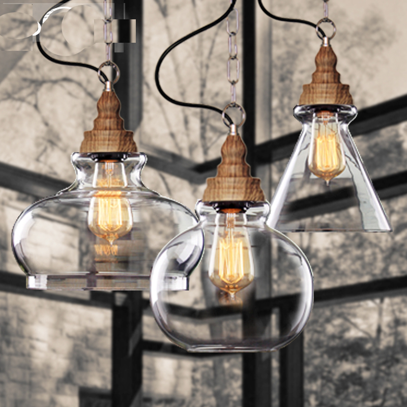 Rustic wooden grain American style E27 LED bulb pendant light fixture home deco vintage single head glass counter pendant lamps ark light rustic glass pendant antique american style light brief vintage reminisced classical iron glass bell pendant lamp