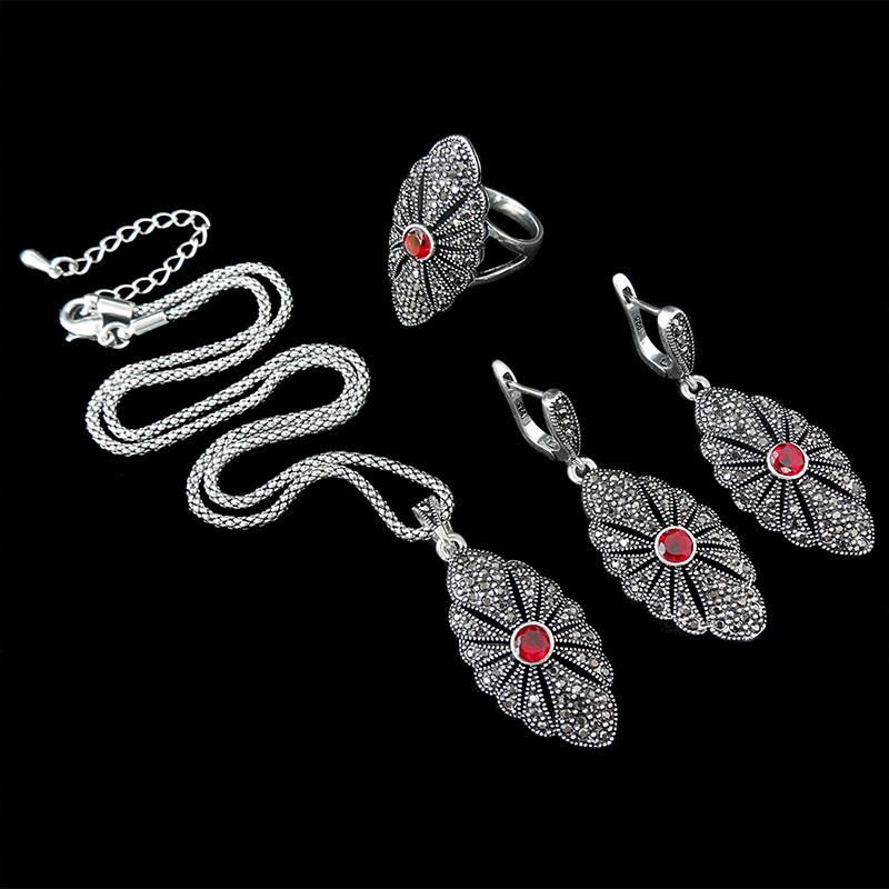 HENSEN New Fashion Antique Silver Plated Jewellery Sets Vintage Crystal Pendant Necklace Set Women Gift parure