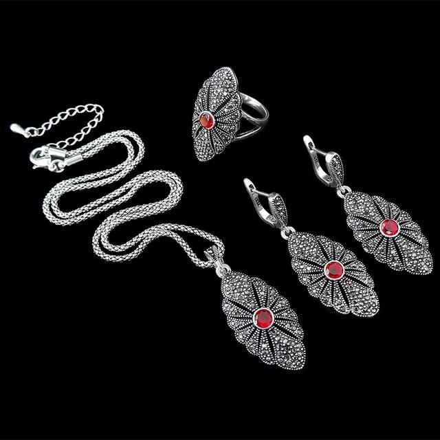 HENSEN New Fashion Antique Silver Plated Jewellery Sets Vintage Crystal Pendant Necklace Set Women Gift parure bijoux femme