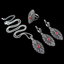 HENSEN New Fashion Antique Silver Plated Jewellery Sets Vintage Crystal Pendant Necklace Set Women Gift parure bijoux femme