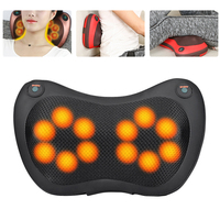 Home Car Massager for Back Black Shiatsu Massage Pillow Cushion 12/8/6/4 Heads Electric Massager for Neck Relief Pain