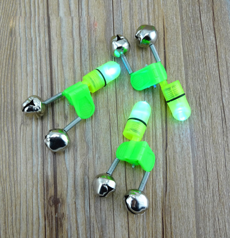 4PCS LED Fishing Rod Bite Alarm Bells Fishing Rod Red Light Stainless Steel Hard Fish Alerter Fishing Tool Alerter Peces FF22