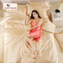 SLOWDREAM Euro Bedding Set Silky Linens Solid Color Sheets Bedspread Duvet Cover Adult Queen King Size Double Bed Linen Set [available with 10 11] linens euro love dream