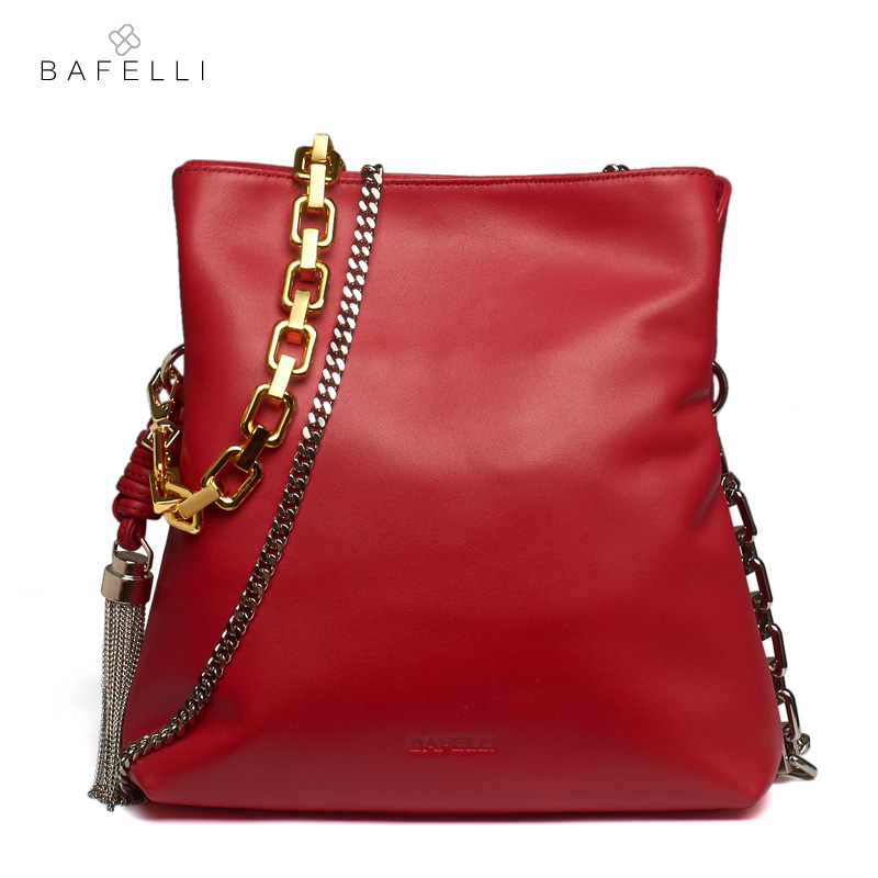 цена на BAFELLI new arrival genuine leather shoulder bag fashion metal tassels bolsa feminina hot sale double chain small women bag