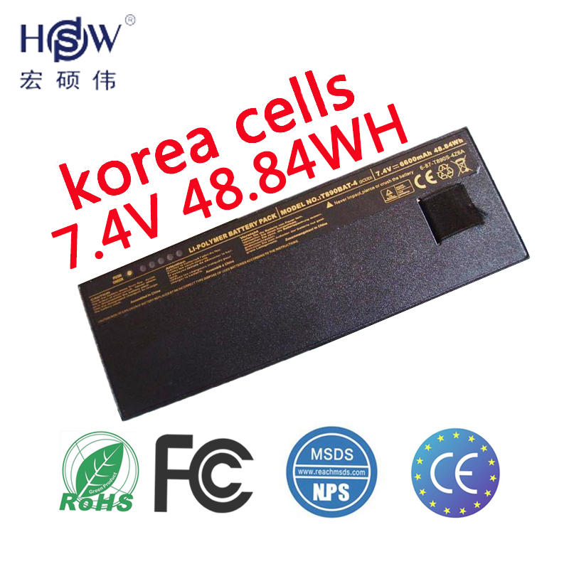 HSW 7.4V 48.84Wh Battery FOR CLEVO T890 6-87-T890S-4Z6A,T890BAT-4,T890BAT-4(SCUD) bateria akku origianl clevo 6 87 n350s 4d7 6 87 n350s 4d8 n350bat 6 n350bat 9 laptop battery