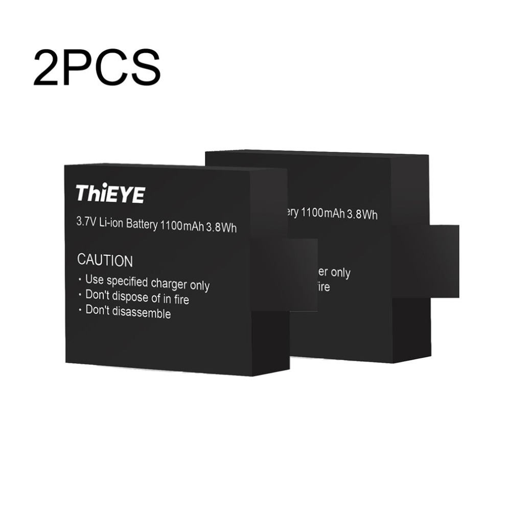 2 Pcs THiEYE T5E Rechargeable Batteries 1100mAh Replacement Li ion Battery THiEYE T5E Action Camera Spare