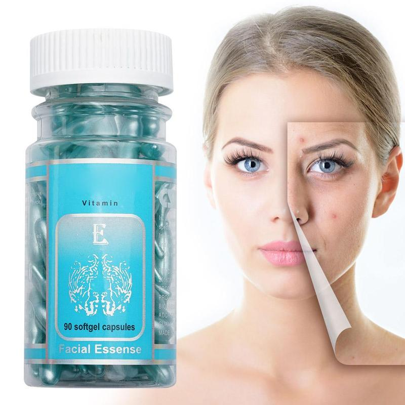 90pcs/bottle Vitamin E Capsules Serum Spot Acne Removing Whitening Cream VE Freckle Capsule