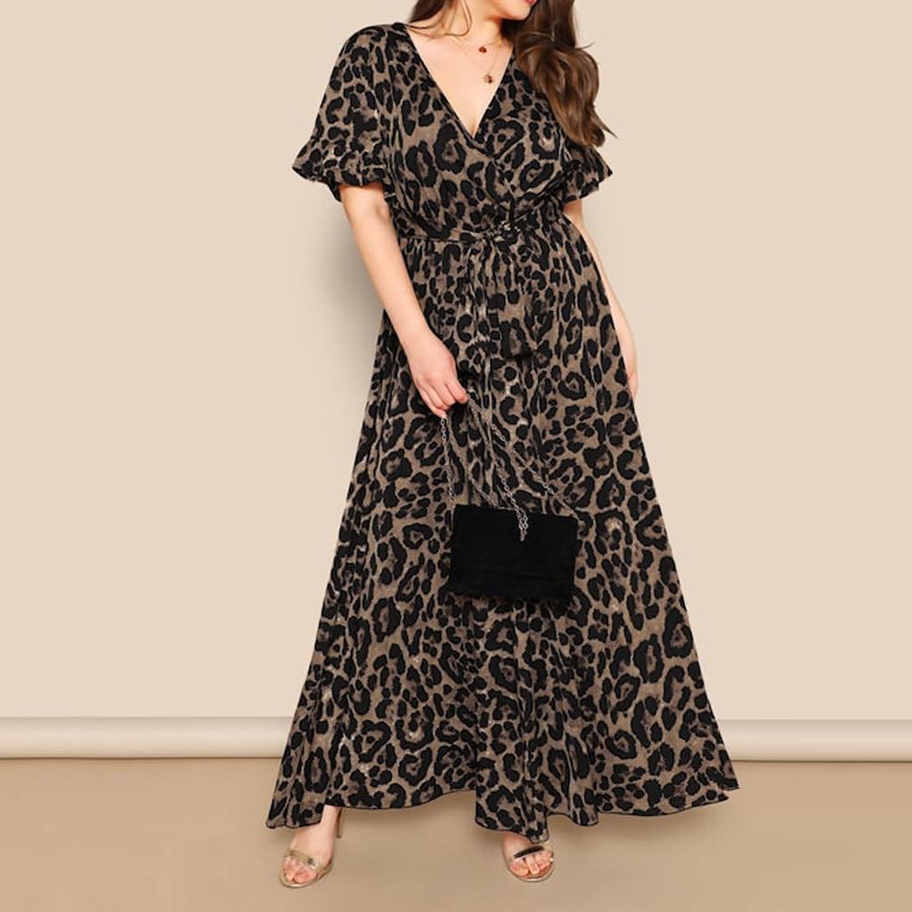 Summer Dress Women 2019 Robe Femme Vestidos De Verano Robe Lon Sexy Plus Size Leopard Print V-Neck Short Sleeve Bandage Dress Z4